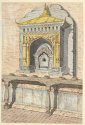 Shrine of one of the Celestial Budhisuktis (or Taras) at the base of the Temple of Adi Buddha at Sambhunath. April 1854